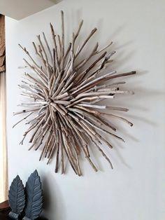 Driftwood sunburst,wood wreath art,sculpture,front door hanging,beach d. Driftwood Wall Art, Driftwood Projects, Driftwood Fish, Driftwood Wreath, Driftwood Sculpture, Driftwood Ideas, Painted Driftwood, Twig Wreath, Monogram Wreath