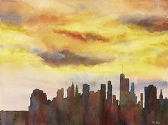 New York City skyline watercolor painting.  Watercolor