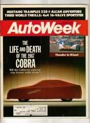 AutoWeek Car Magazine March 7 1988 Cobra Mustang Z28 IMSA Racing