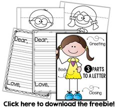 Friendly Letter Writing {a freebie} - Little Minds at Work Kindergarten Writing, Teaching Writing, Writing Activities, Vocabulary Activities, Student Teaching, Preschool Worksheets, Kindergarten Classroom, Teaching Ideas, Letter Writing For Kids