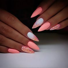 Pretty Ideas Of Colors for Nail Designs for Women 2019 - Nail Art - glitter nails summer Best Acrylic Nails, Acrylic Nail Designs, Nail Art Designs, Bright Nail Designs, Pretty Nail Designs, Pointy Acrylic Nails, Coral Nails With Design, Gel Polish Designs, Almond Nails Designs