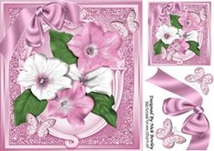 Pretty pink Petunias with satin bow   butterflies 8x8 on Craftsuprint - View…