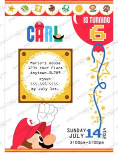 Print-INK Super Mario Bros. Personalized Invitation by PepitosRoom