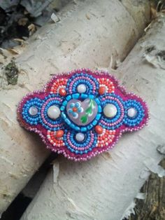 Beaded Heart Flower Barrette by BakedAlaskanDesigns on Etsy