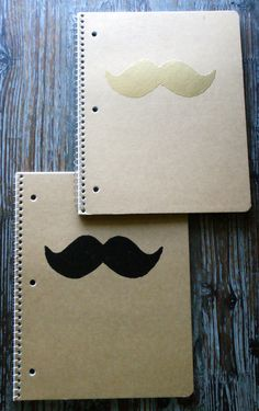 Mustache notebooks | http://www.etsy.com/listing/168903866/mustache-kraft-notebook-embossed