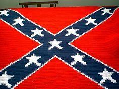 Crocheted Confederate Flag Afghan