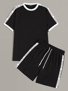 To find out about the Men Letter Tape Side Ringer Top & Shorts Set at SHEIN, part of our latest Men Two-piece Outfits ready to shop online today! Dope Outfits For Guys, Boy Outfits, Cute Pajama Sets, New T Shirt Design, Boys Clothes Style, Adidas Outfit, Two Piece Outfit, Stylish Men, Short