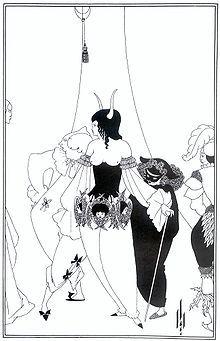 """Ilustración de Aubrey Beardsley, para """"La Máscara de la Muerte Roja"""" 1894–1895"""