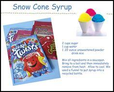 DIY~Snow Cone Syrup