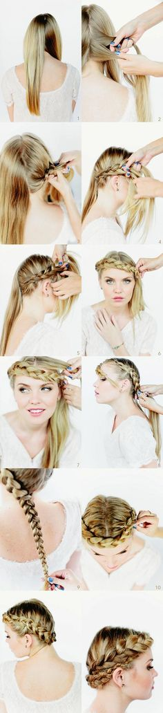 gorgeous crown #braid #hair #hairdo #hairstyles #hairstylesforlonghair #hairtips #tutorial #DIY #stepbystep #longhair #howto #practical #guide