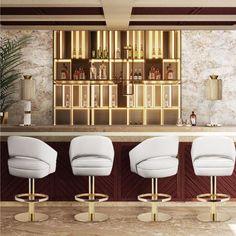 Mid-Century Bar Chairs Meet Modern Lighting Pieces You'll Love – Bar Stools Furniture Mid Century Bar, Mid Century House, Modern Bar, Modern Decor, Modern Design, Modern Chairs, Modern Table, Midcentury Modern, Best Interior
