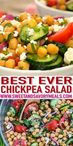 Chickpea salad is a great recipe highlighting not only chickpeas but also tomatoes avocados and cucumber it is our favorite summer salad! chickpeasalad chickpeas sweetandsavorymeals jammy cherry tomato pasta with crisp lemon rosemary chickpeas Chickpea Salad Recipes, Healthy Salad Recipes, Vegetarian Recipes, Chickpea Meals, Salad Recipe With Chickpeas, Garbanzo Salad, Healthy Corn, Avocado Salad Recipes, Salad Recipes Video