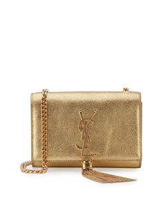 SAINT LAURENT Monogram Small Kate Metallic Tassel Shoulder Bag, Gold. #saintlaurent #bags #shoulder bags #leather #metallic #