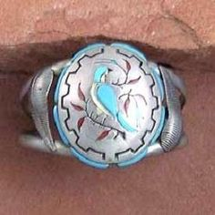 Vintage 1960s Zuni Indian Sterling Silver Turquoise Inlay Bluejay Cuff Bracelet