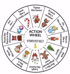 Action games: Christmas and Winter action wheel Christmas Things To Do, Christmas Jokes, Preschool Christmas, Christmas Activities, Christmas Crafts For Kids, Xmas Crafts, Preschool Activities, Christmas Holidays, Action Games For Kids