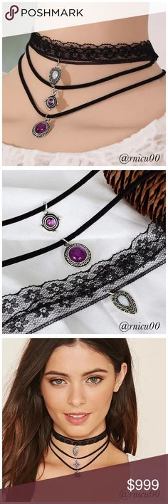 """🆕3pc. Black Velvet Boho Vintage Gemstone Chokers! LOVE this Choker Set! So fun & Adorable! Black Velvet & Lace Material, with 3 Vintage Stone Charms! Top layer stone is white, other 2 are a deep pink/purple-Beautiful Color! Chokers are """"HOT!""""  *NO TRADES *Prices are FIRM-Listed at Lowest Price Unless BUNDLED! *Sales are Final-Please Read Descriptions! Boutique Jewelry Necklaces"""