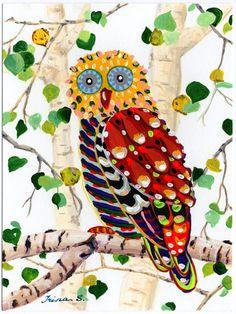 Owl on a Birch Tree original painting 6 x 8