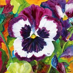Pansy Play Flower Paintings by Laurie Pace, painting by artist Laurie Justus Pace