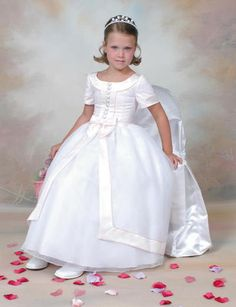 Designer Sweetie Pie First Holy Communion Dress - 140 - Full Length White Satin and Organza Short Sleeves