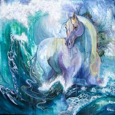 Horse in Aqua and lilac Seafoam and Crashing wave painting The dream of the Horse Dancing in crashing waves 60×60 Sold in Private Collection Of Margarita Prevot by Cinnamon Cooney
