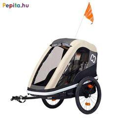 """Az erős és sokoldalú kerékpár utánfutó, amely babakocsivá alakítható, könnyű elülső nyitás szíjjal és akasztó horoggal. Ideális választás egy gyermek szállítása esetén!    Jellemzői:  - Mosható üléspárna  - Tágas tároló rész  - Extra hosszú árnyékoló  - Állítható 5 pontos biztonsági öv  - Rögzítő fék  - Első és hátsó reflektorok  - Fényvisszaverő csíkok  - Ergonomikus, állítható fogantyú  - Kompakt, egyszerűen összecsukható  - Összehajtható kerékvédők  - Gyorskioldású 20 """"-os kerekek  - Jó… Bmx, 20 Wheels, Bike Trailer, Small Baby, Mesh Fabric, Multifunctional, Aluminium, Baby Car Seats, Baby Strollers"""