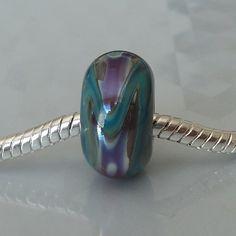 Silver Core Option - Handmade Lampwork Glass Armadillo European Charm Bead with Silver Glass - Self Representing Artist