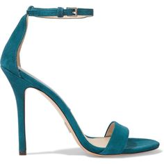 Michael Kors Collection Jacqueline suede sandals ($195) ❤ liked on Polyvore featuring shoes, sandals, heels, petrol, high heeled footwear, michael kors, strappy heeled sandals, michael kors shoes and suede shoes