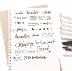 planner inspiration Bullet journal inspiration layout Source by kerrielegend. Bullet Journal School, Bullet Journal Headers, Journal Fonts, Bullet Journal Aesthetic, Bullet Journal Writing, Bullet Journal Ideas Pages, Journal Layout, Bullet Journal Inspiration, Bullet Journal Ideas Handwriting