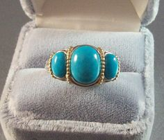 Vintage Sterling Turquoise Cocktail Ring by LynnHislopJewels