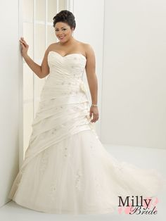 Sweetheart Neckline Tulle Taffeta Plus Size Wedding Dress WDPS029