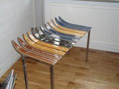 Father-in-law,made a bench out of old ski's..cool.