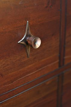 Delicieux RESERVED Mid Century Modern Copper Hardware, Set Of Five Knobs And  Starburst Back Plates.
