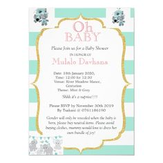Oh Baby Shower Mint Green Stripes Pink Floral Invi Invitation | Zazzle.com Green Stripes, Mint Green, Rsvp, Baby Shower, Invitations, Frame, Floral, Pink, Baby Sprinkle Shower
