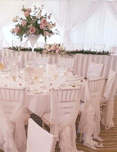 Welcome To The Wedding Decorators Pink Wedding Decorations, Wedding Table Centerpieces, Centrepieces, Table Decorations, Dusky Pink Weddings, Chair Sashes, Chair Covers, Table Linens, Event Decor