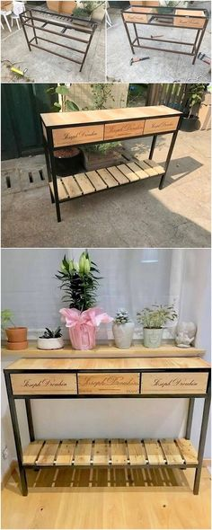 A mind-blowing has been shared here which you would love to add up in your house right now! This much trendy and innovative table of wood pallet project has been bring out for you which is carried out with the support of steel feet under it.