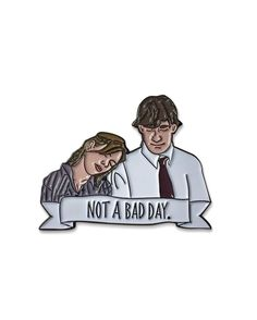 Not A Bad Day pin from Jim and Pam forever. Available to purchase through their link in bio! Jim Pam, Office Memes, Jacket Pins, Dunder Mifflin, Parks N Rec, Cool Pins, Pin And Patches, The Office, Pin Collection