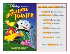 The Brave Little Toaster Disney Meal! Has link to pictures of How the Meal Came Together & The Treat! Disney Family Lifestyle has SO many Disney Meal Ideas! Disney Themed Food, Disney Inspired Food, Disney Food, Disney Menus, Disney Dinner, Disney Recipes, Disney Tips, Movie Night Party, Movie Nights