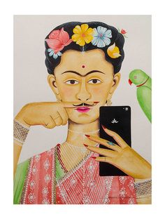 """Limited EditionKalighat Pattachitra """"Kali-Kahlo 3"""" Digital Print on Paper - 8.5in x 11.5in"""