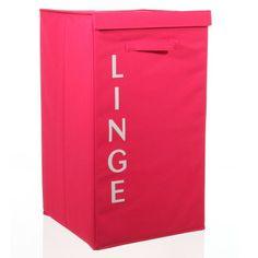 Disponible sur Boutiquedubain.com Panier à Linge Ecriture Framboise