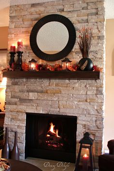 Love the look of this fireplace makeover.