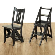 Solid Mahogany Distressed Black Convertible Ladder Chair Step Stool