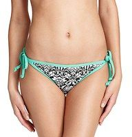 Herald Scroll Print Side Tie Bikini Bottom - Get vintage glam with a chic printed side tie style, with aqua piping for a burst of tropical charm. Adjustable side ties. Full bottom coverage. Lined.
