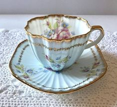Beautiful Pink Floral With Butterflies Tuscan China Tea Cup June Glory Blue EB Foley China Tea Cup and Saucer Teacup Set Tea Cup Set, My Cup Of Tea, Cup And Saucer Set, Tea Cup Saucer, Tea Sets, Teapots And Cups, Teacups, Cuppa Tea, China Tea Cups