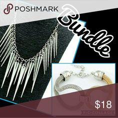 Edgy Spike Necklace & Two-Tone Bracelet Bundle Only one available. Both have an adjustable lobster clasp. Buy this bundle or make your own.  Material: Alloy Big Spike Length: 5cm/ 1.96''(Approx.) Chain Length: 43cm + 6cm(Extension Chain)/ 16.93'' + 2.36''(Approx.)  Tags: follow game gift gifts set cheap sale deal statement large Jewelry Necklaces