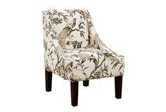 "Quinn Swoop Armchair, White on OneKingsLane.com- Good chair to sit & play guitar. Love the "" bird pattern fabric!"""