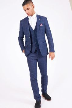 Click here to discover our collection of Men's 3 Piece Suits. Browse our vintage inspired designs in a variety of prints, colours & materials. Shop today! Mens 3 Piece Suits, Three Piece Suit, Mens Suits, Double Breasted Waistcoat, Modern Suits, Plain White Shirt, Checked Suit, Tweed Suits, Men Formal