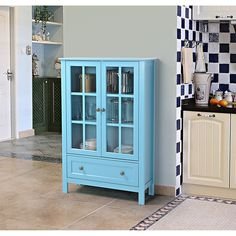 Good Amazon.com : Country Style Modern Double Door Glass Wood Accent Display  Storage Cabinet Organizer