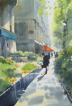 Morning in Paris by Sergei Kurbatov - watercolor painting