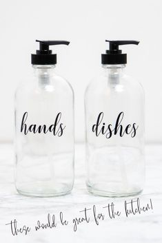 These clear glass hand and dish soap dispensers are perfect for your kitchen! The custom labels make sure your kitchen counter is looking beautiful and organized. Kitchen Soap Dispenser Ideas - Refillable Dish Soap Bottles for Kitchen Sink - Modern Farmhouse Kitchen Sink Decor - Kitchen Update Ideas - Kitchen Sink Soap Organization