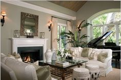 Look and feel of upstairs sitting room with piano - add a fireplace?